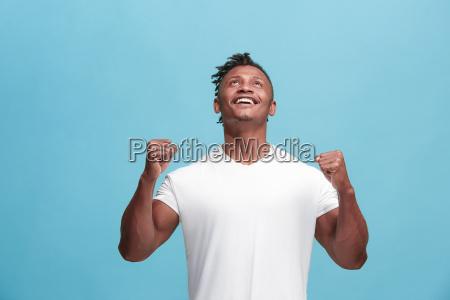winning success afro american man happy