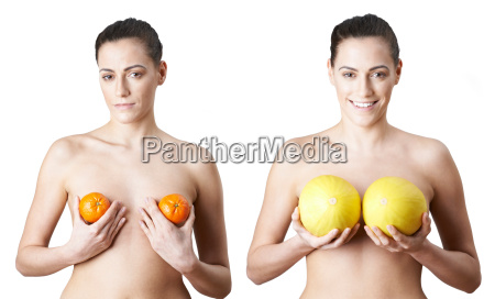 woman holding satsumas and melons to
