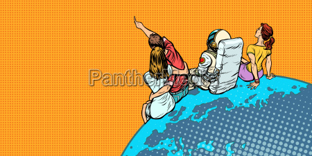 people and an astronaut sitting on