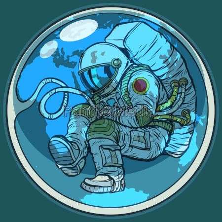 newborn astronaut and planet earth humanity