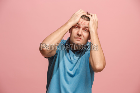 handsome man in stress isolated on