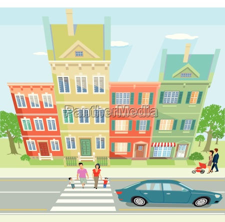 cityscape with stroller illustration