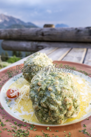 austrian spinach dumplings on a table