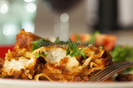 classic italian lasagna on the plate