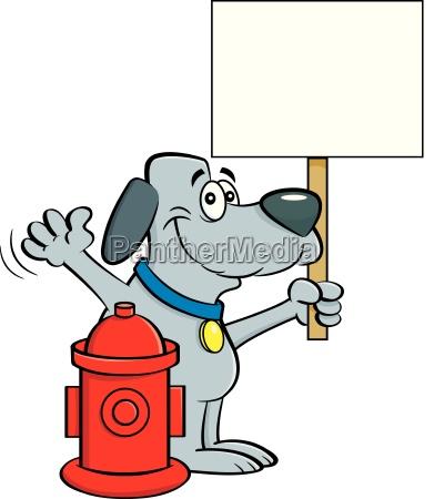 cartoon illustration of a dog holding