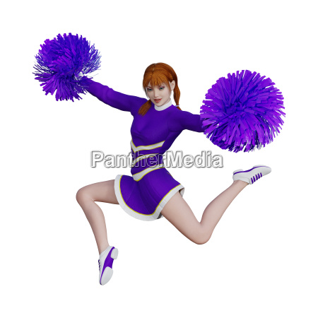 3d rendering cheerleader with pompoms on