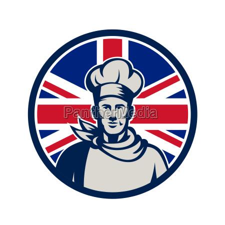 british baker chef union jack flag