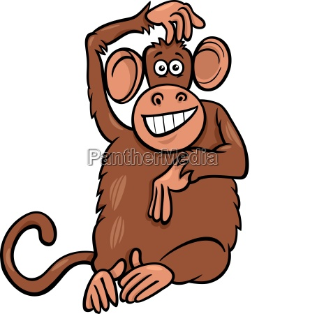 funny monkey animal character cartoon illustration