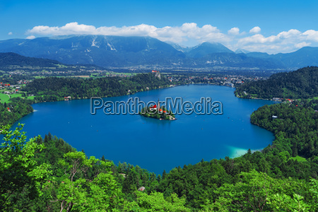 aerial view of lake bled alps