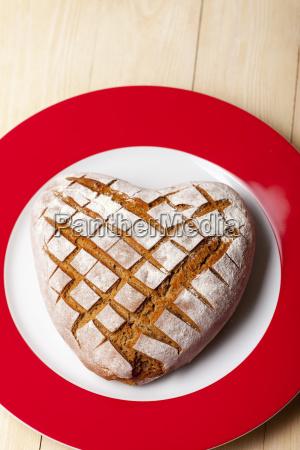 heart shaped homemade rye bread