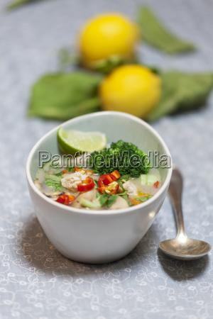 thai tom kha gai soup in