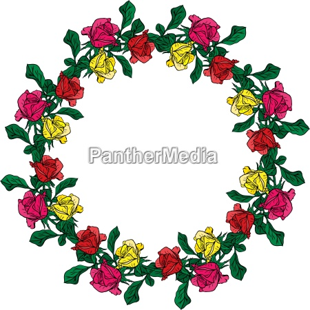 wreath of red yellow and pink