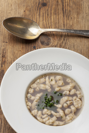 roast spaetzle soup with the spoon