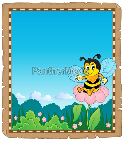 parchment with happy bee theme 2
