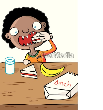 cute black girl having lunch in