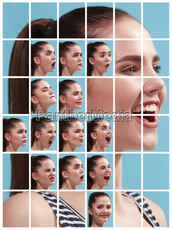 the collage of different human facial