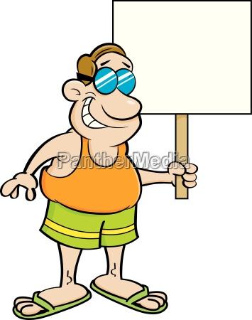 cartoon illustration of a man wearing