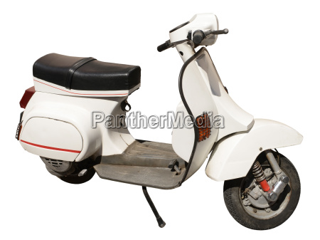 white motor scooter isolated on white