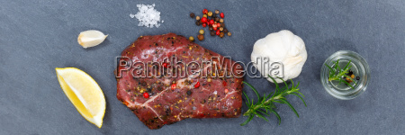 meat steak raw beef banner from