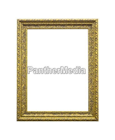 antique golden wooden frame isolated on