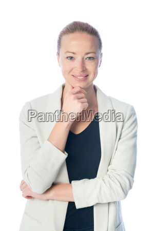 business woman standing against white background