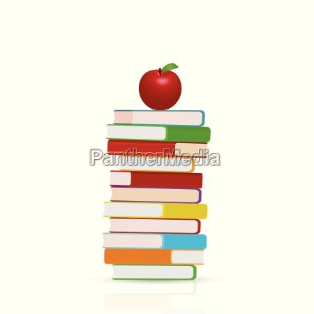 books and apple illustration