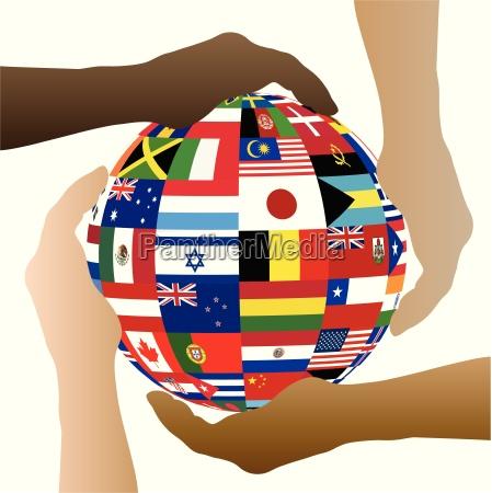 flag sphere hands illustration