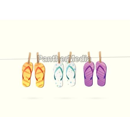 hanging sandals illustration
