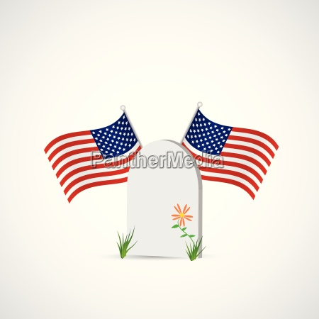 gravestone and usa flag illustration