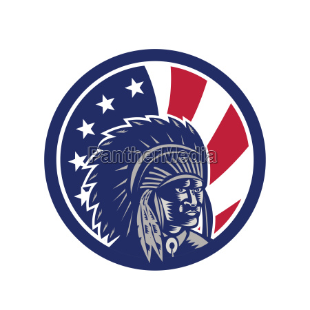 native american indian chief usa flag
