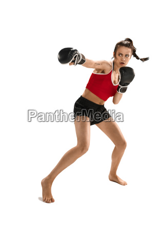fit beautiful woman with the boxing