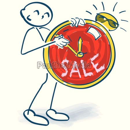stick figure with clock and sale