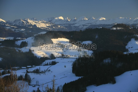 view of the snowy toggenburg and