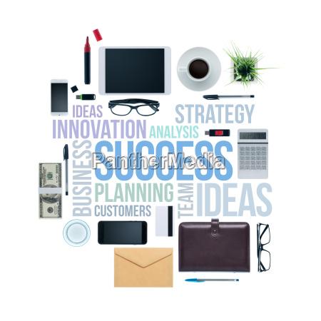 business concepts and businessmans desktop
