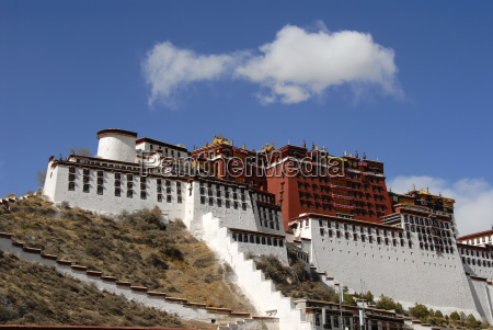 white cloud over potala winter palace