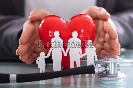 close up of stethoscope and family