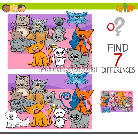 find differences game with cats animal
