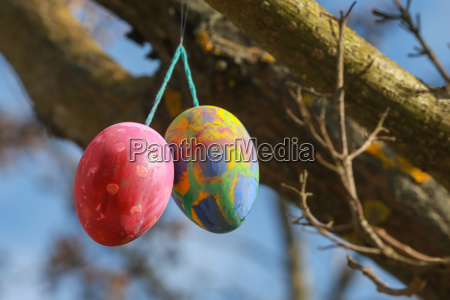 decorated easter eggs on the tree