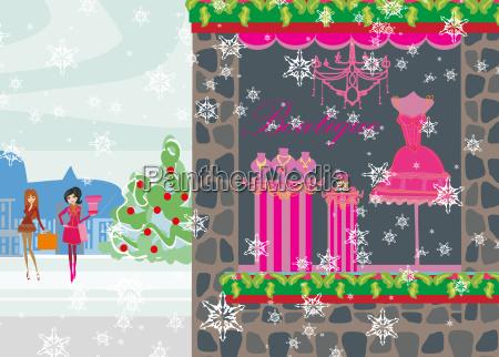 beautiful girls on winter shopping