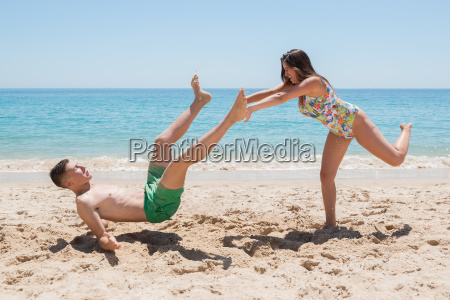 girl pushing boy