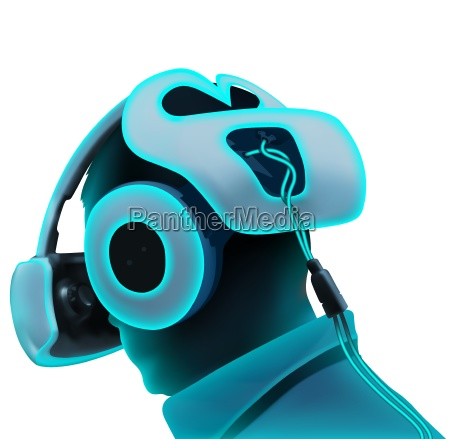 virtual reality headset in neon tones