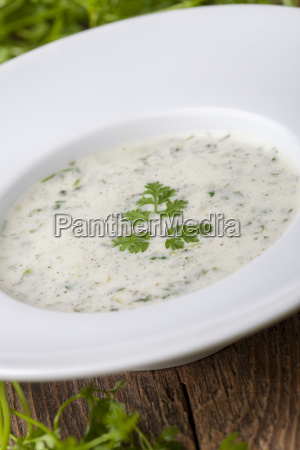 fresh chervil soup in a plate
