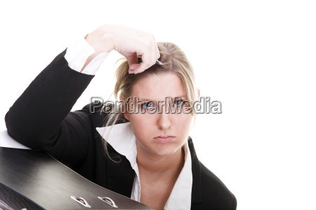 woman office women boring hairs frustrated
