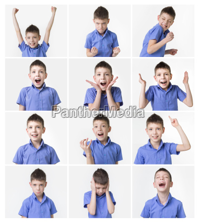 funny teenager expressions set over white