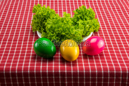 easter eggs and fresh green salad