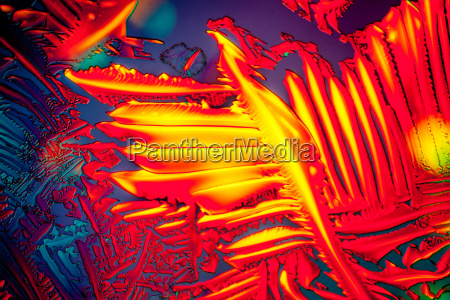 urea in polarized light crystals enlarged