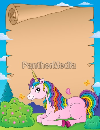 parchment with lying unicorn theme 1