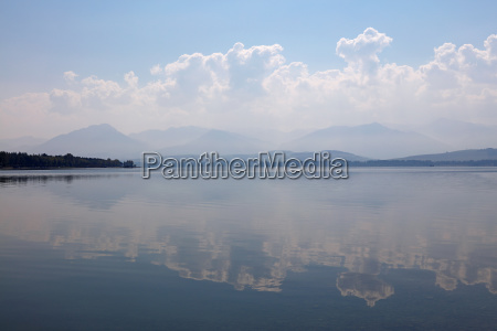 waterscape of lake with cloudy sky