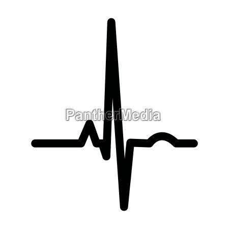 heart rhythm ekg black color icon