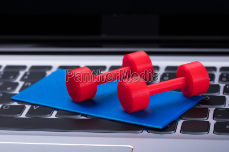 elevated view of dumbbells and exercise